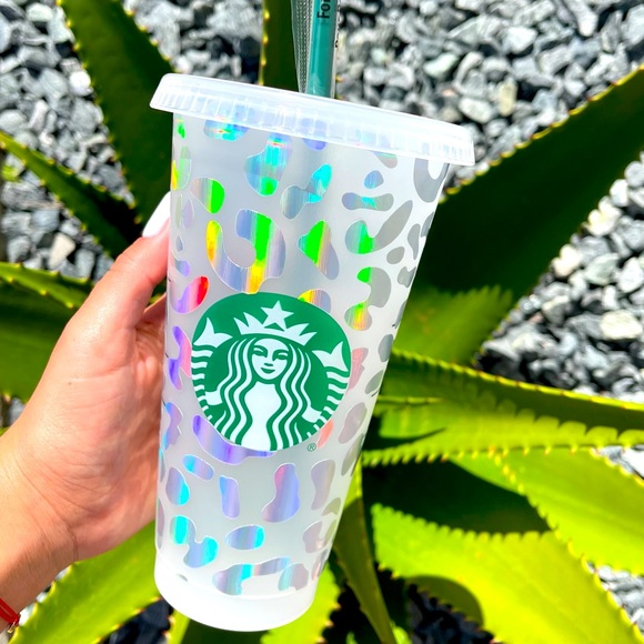 Silver Holographic cheetah print Starbucks cup